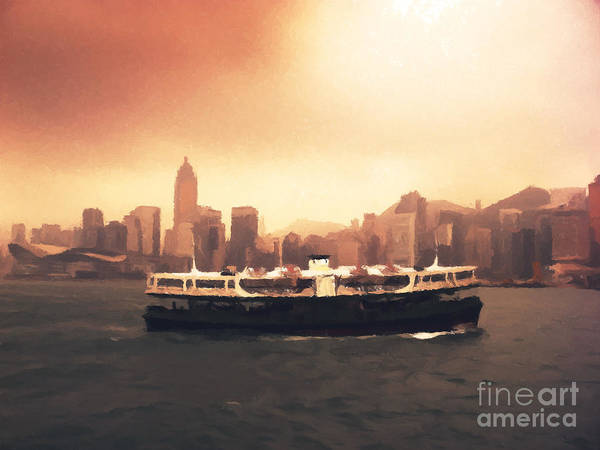 Hong Wall Art - Painting - Hong Kong Harbour 01 by Pixel  Chimp