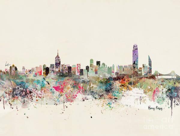Hong Wall Art - Painting - Hong Kong Skyline by Bri Buckley