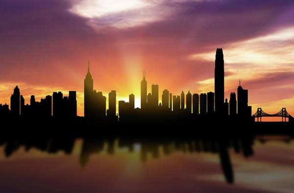 Hong Digital Art - Hong Kong Skyline Sunset Chhk22 by Aged Pixel