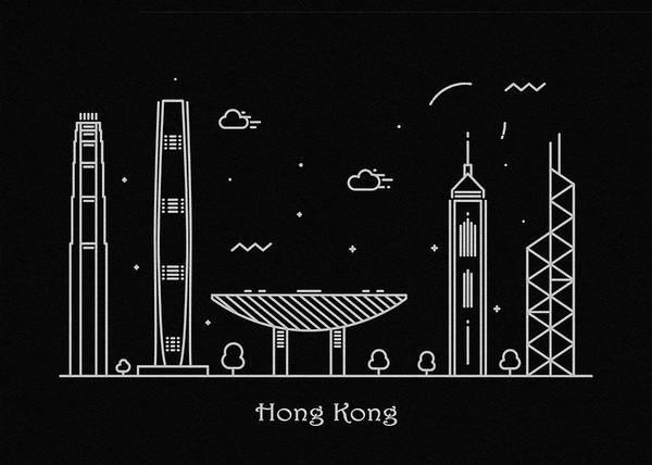 Hong Kong Skyline Travel Poster Art Print