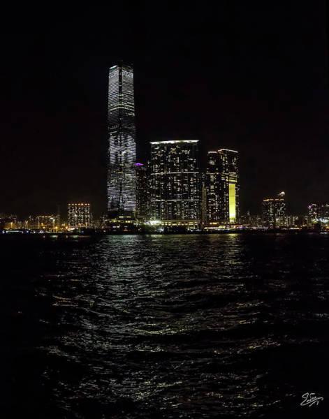 Photograph - Hong Kong Skyscraper At Night by Endre Balogh