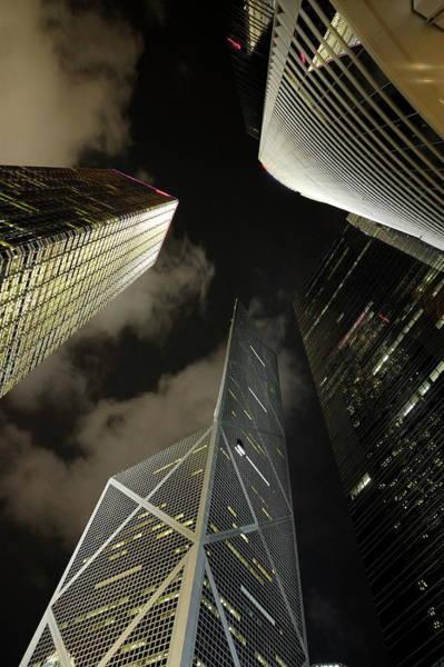 Wall Art - Photograph - Hong Kong Skyscrapers At Night by Sami Sarkis