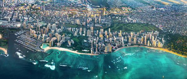 City Scape Photograph - Honolulu From High by Sean Davey
