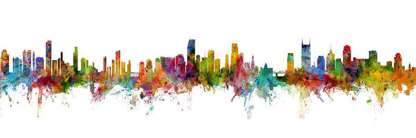 Nashville Wall Art - Digital Art - Honolulu, Miami And Nashville Skylines Mashup by Michael Tompsett