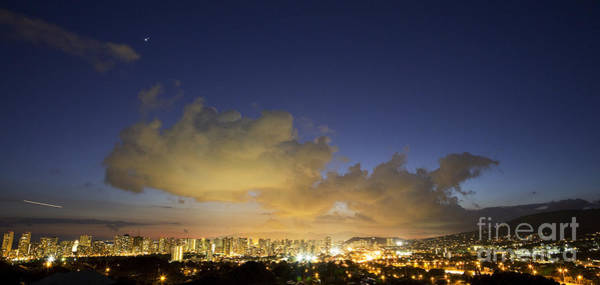 Photograph - Honolulu Night Skyline by Charmian Vistaunet