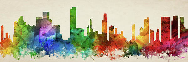Wall Art - Digital Art - Honolulu Skyline Panorama Ushiho-pa03 by Aged Pixel