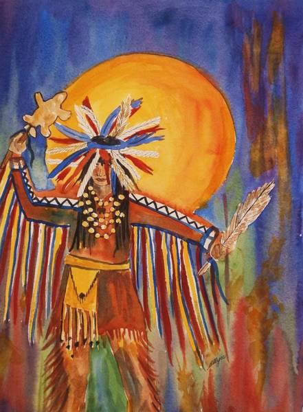Powwow Wall Art - Painting - Honor Dance by Ellen Levinson