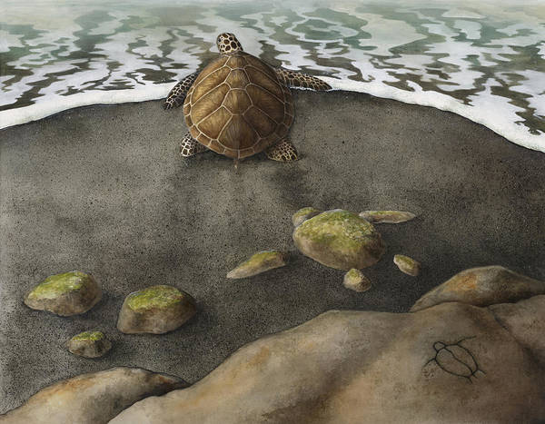 Turtle Painting - Honu Beach by Kirsten Carlson