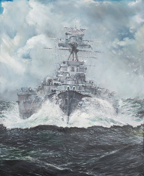 Cruiser Painting - Hood Heads For Bismarck by Vincent Alexander Booth