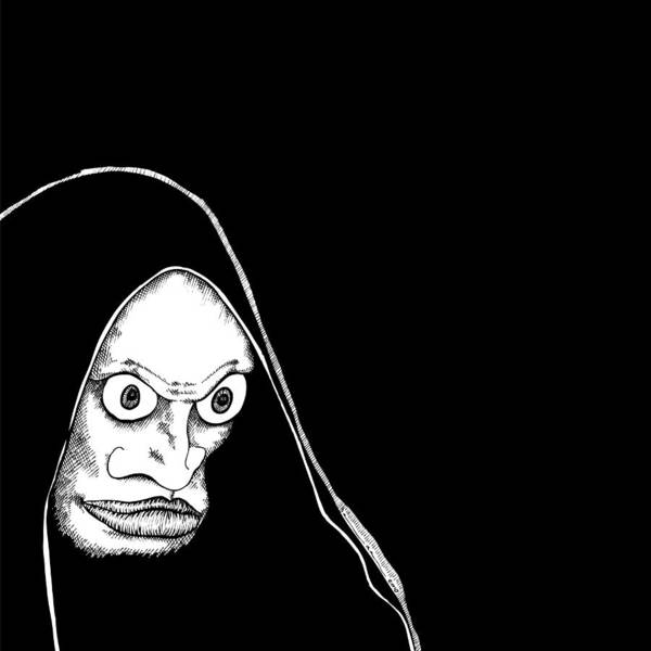 Black Magic Drawing - Hoodied Man by Karl Addison