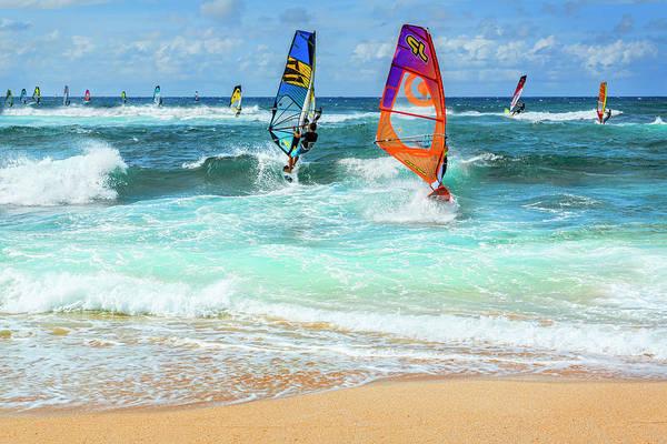 Wall Art - Photograph - Ho'okipa Beach Wind Surfers by Kelley King