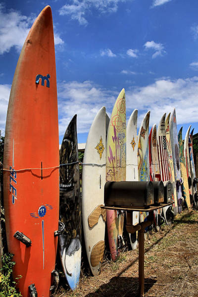 Surfboard Fence Photograph - Hookipa by DJ Florek