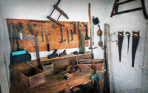 Shelves Mixed Media - Hooper Strait Lighthouse Workbench by Brian Wallace