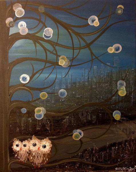 Painting - Hoo's City Original by MiMi Stirn