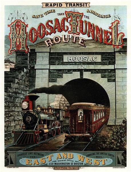 Vintage Train Painting - Hoosac Tunnel Route - Vintage Steam Locomotive - Advertising Poster by Studio Grafiikka