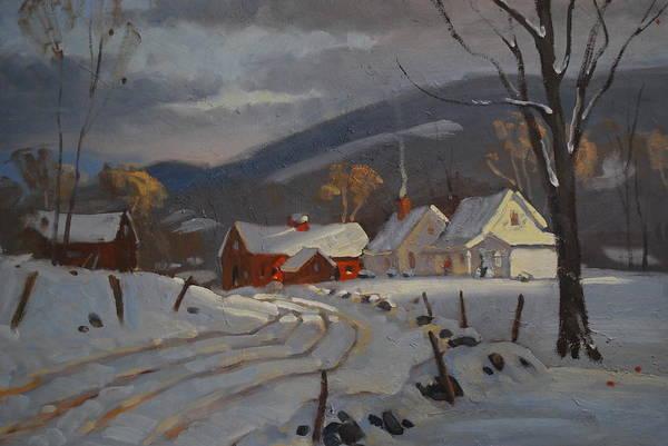 Barn Snow Painting - Hoosac Valley Farm by Len Stomski