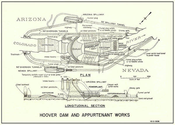 Wall Art - Photograph - Hoover Dam Plan And Section  1935 by Daniel Hagerman
