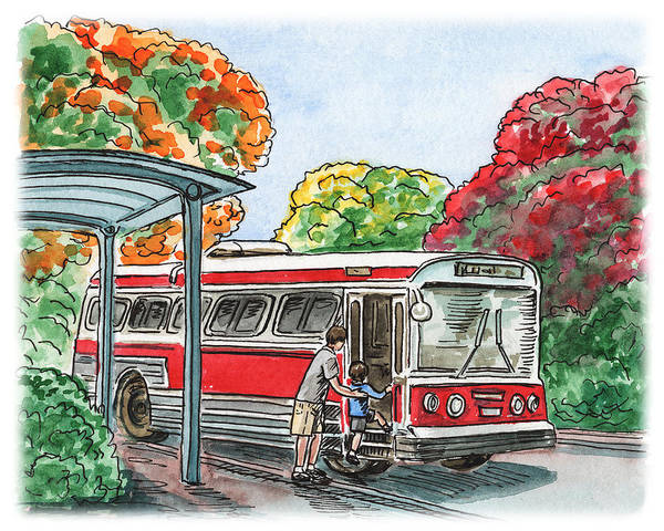 Wall Art - Painting - Hop On A Bus by Irina Sztukowski