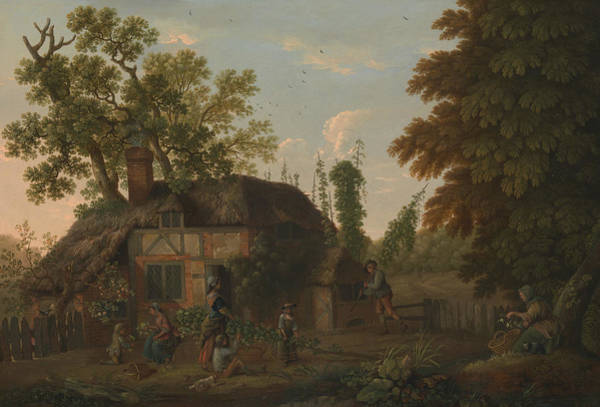 Wall Art - Painting - Hop Pickers Outside A Cottage by George Smith