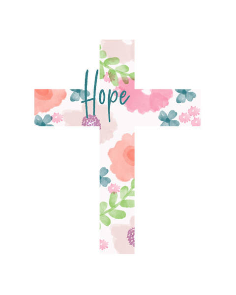 Pretty Mixed Media - Hope Floral Cross- Art By Linda Woods by Linda Woods