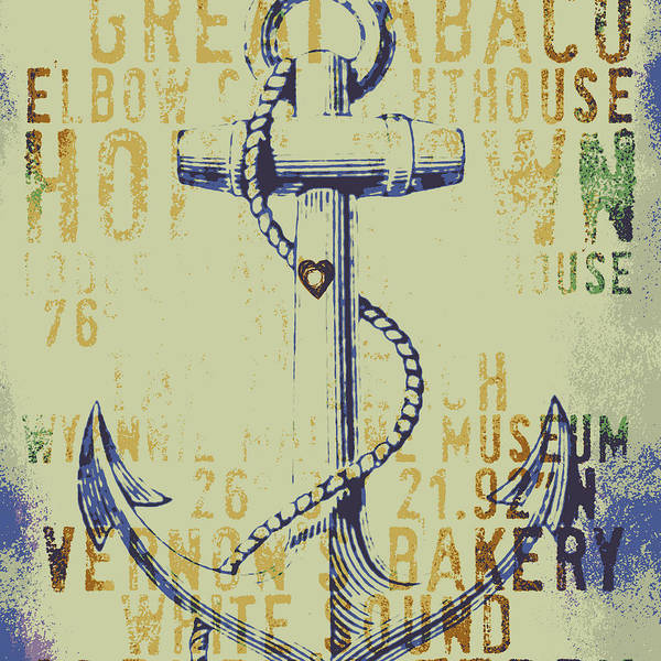Town Square Digital Art - Hope Town Anchor by Brandi Fitzgerald