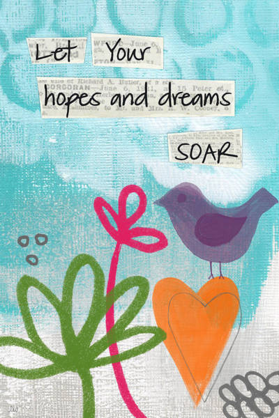 Blue Heart Wall Art - Painting - Hopes And Dreams Soar by Linda Woods