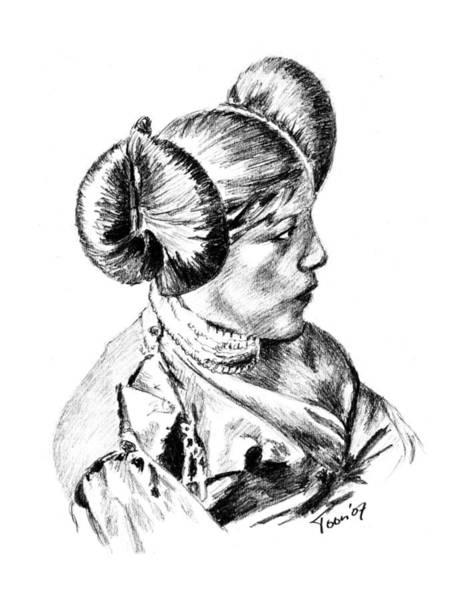 Drawing - Hopi Girl by Toon De Zwart