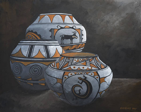 Native American Culture Painting - Hopi Pots by Jerry McElroy