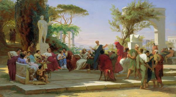 Poetry Painting - Horatius Reading His Satires To Maecenas by Fedor Andreevich Bronnikov