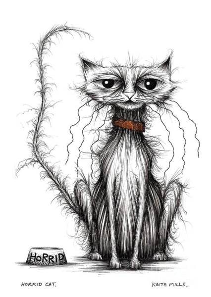 Miserable Drawing - Horrid Cat by Keith Mills