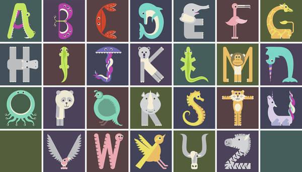 Digital Art - Horizontal Animal Alphabet Complete Poster by Jen Montgomery