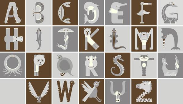 Digital Art - Horizontal Neutral Animal Alphabet Complete Poster by Jen Montgomery