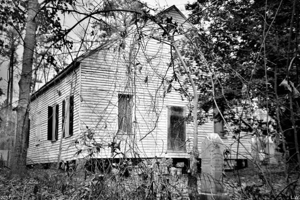 Photograph - Horn Creek Baptist Church And Cemetery Black And White by Lisa Wooten