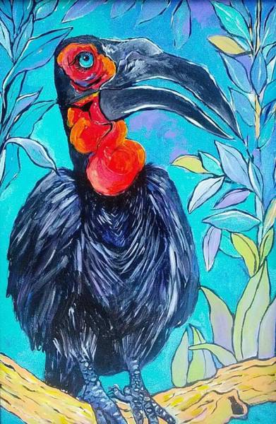 Wall Art - Painting - Hornbill  by Arrin Burgand