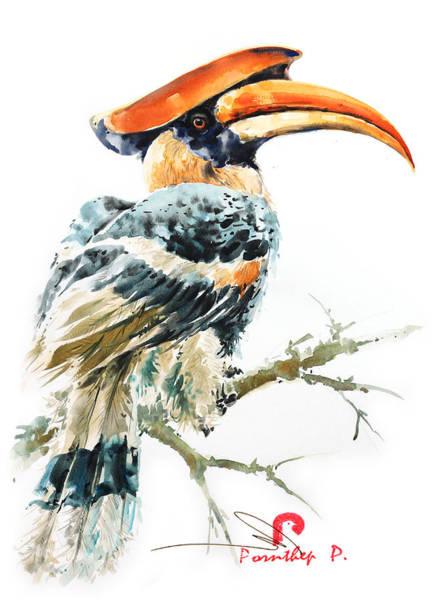 Hornbill Painting - Hornbill Bird 2 by Pornthep Piriyasoranant