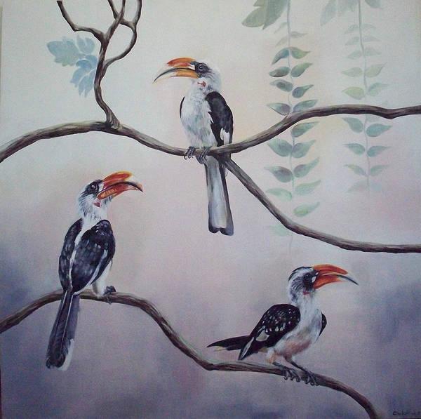 Hornbill Painting - Hornbills by Claudia Plunkett