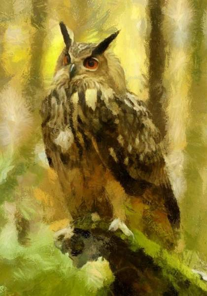 Digital Art - Horned Owl by Charmaine Zoe