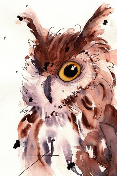 Painting - Horned Owl by Dawn Derman