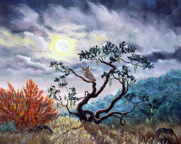 Wall Art - Painting - Horned Owl On Moonlit Oak Tree by Laura Iverson