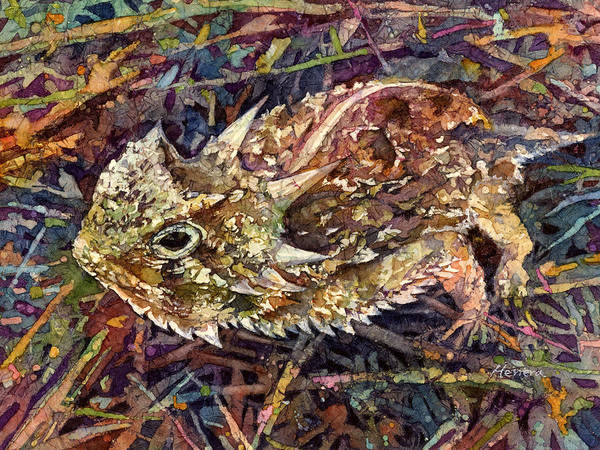 Colorado Wildlife Wall Art - Painting - Horned Toad by Hailey E Herrera