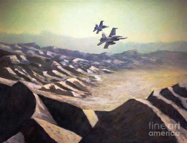A-18 Hornet Wall Art - Painting - Hornets Over Afghanistan by Stephen Roberson