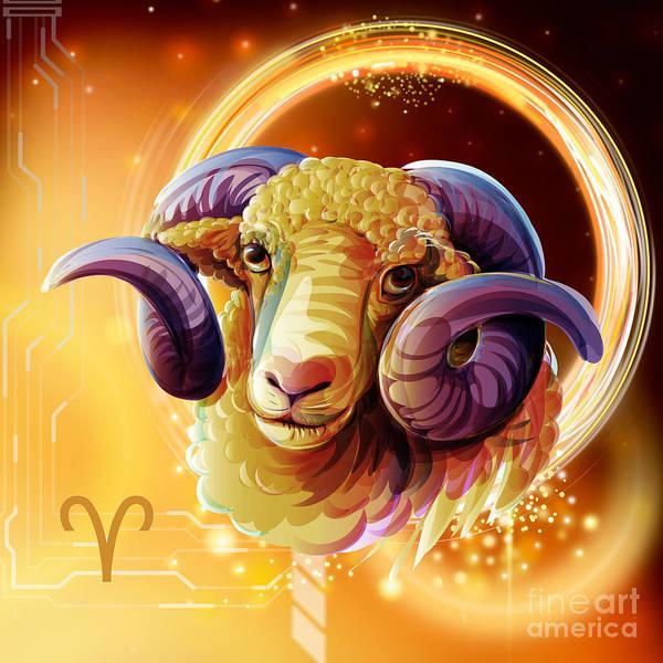Wall Art - Digital Art - Horoscope Signs-aries by Peter Awax