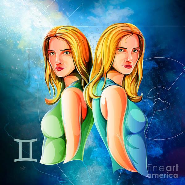 Wall Art - Digital Art - Horoscope Signs-gemini by Peter Awax