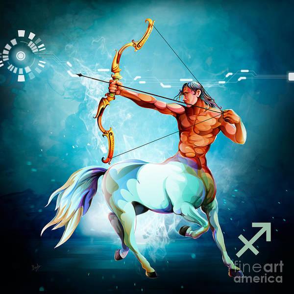 Wall Art - Digital Art - Horoscope Signs-sagittarius by Peter Awax