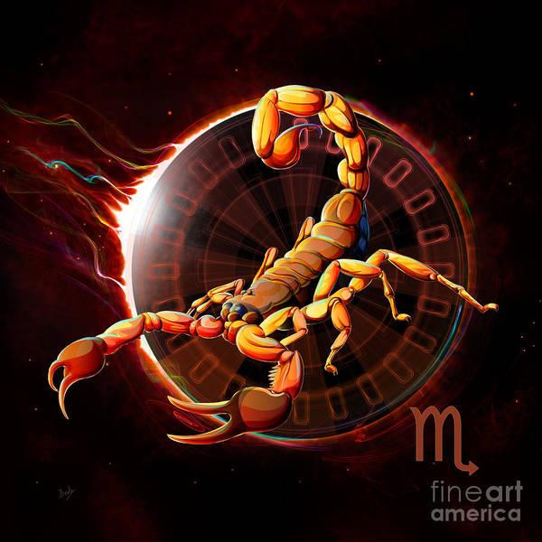Wall Art - Digital Art - Horoscope Signs-scorpio by Peter Awax