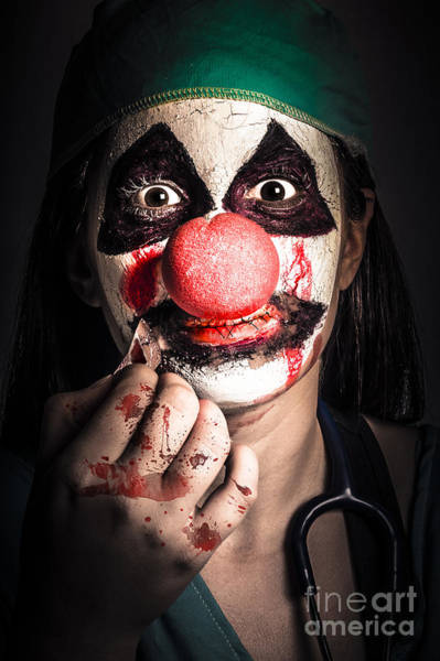 Photograph - Horror Clown Girl In Silence With Stitched Lips by Jorgo Photography - Wall Art Gallery