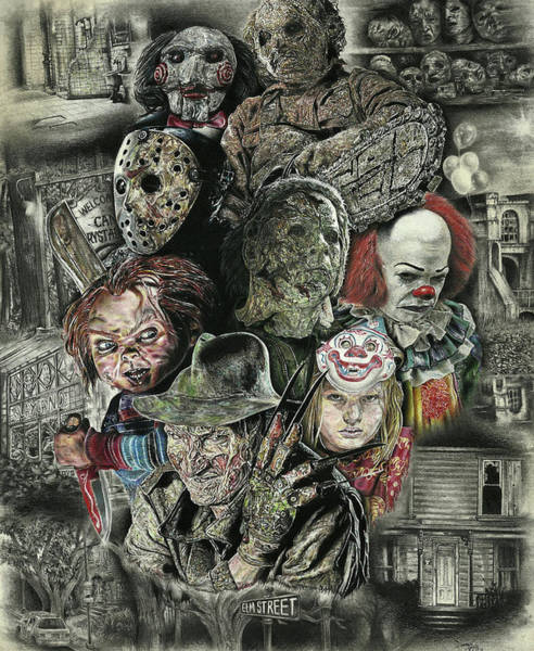 Doll Wall Art - Drawing - Horror Movie Murderers by Daniel Ayala