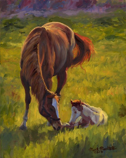 Wall Art - Painting - Horse And Foal by Mark Maritato