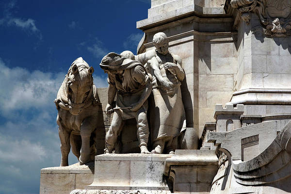 Photograph - Horse And Men Against Blue Sky, Marquis De Pombal Monument by Lorraine Devon Wilke