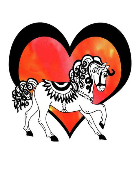 Wall Art - Painting - Horse And The Heart Watercolor by Irina Sztukowski